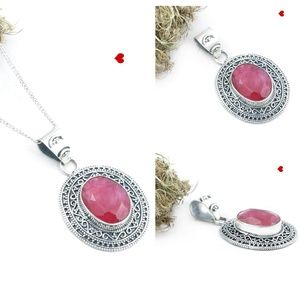 Ruby Pendant Necklace 925 Sterling Silver Chain
